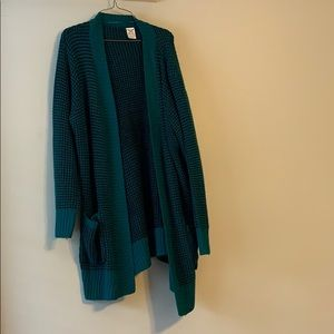 Sweaters - Black and Teal knit cardigan